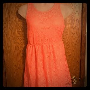 Vibe Coral-Peach Crochet Mini Dress 2x